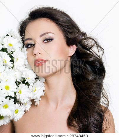 Portrait Of Woman With Flowers