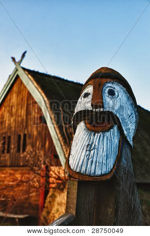 Traditional Old Viking Age House Hut In Bork Village, Denmark, Detail