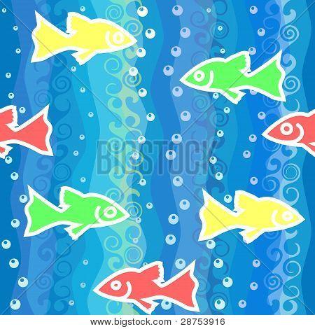 Sem costura de fundo Vector com ondas e peixes coloridos