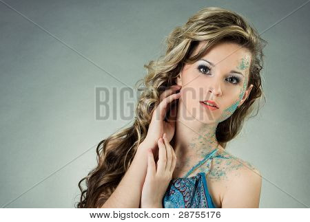 Sensual Young Woman With Creative Make-up