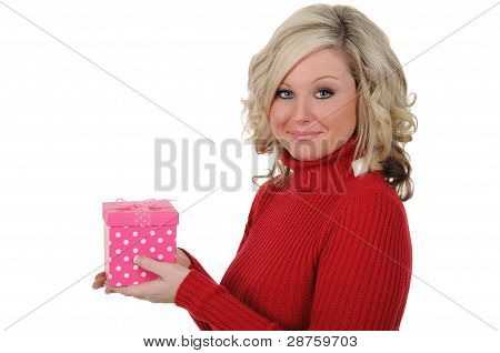 Young Woman With A Pink Gift Box 02