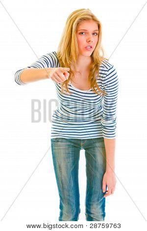 Serious Teen Girl Threatening Finger
