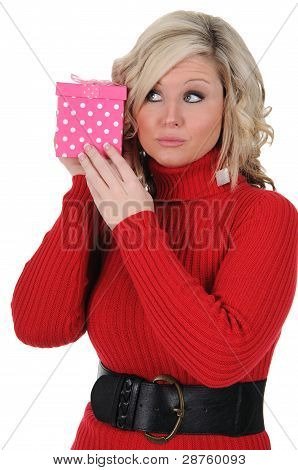 Young Woman With A Pink Gift Box 03