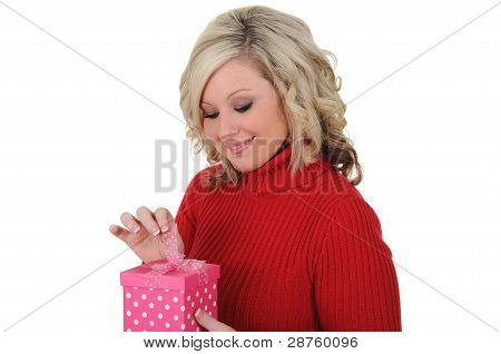 Young Woman With A Pink Gift Box 04