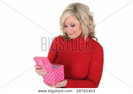 Young Woman With A Pink Gift Box 05