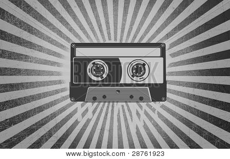 Cassette Tape Over Grey Background Rays Grunge