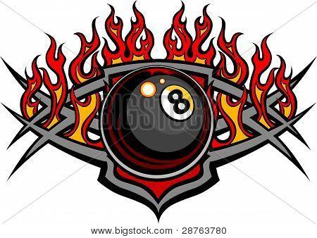 Billiards Eight Ball Flaming Vector Design Template.