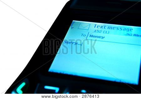 Sms With Apologies On The Display Isolated On White