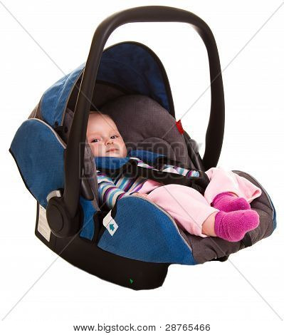 Infant child sitting in car seat
