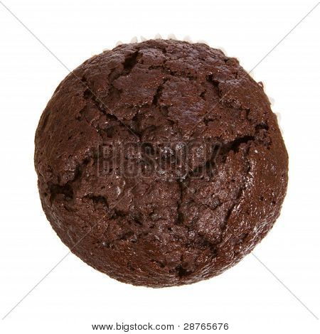 Chocolate Muffin from Top View Isolated on a White Background