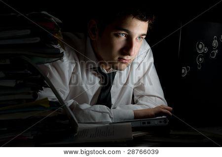 Working In Dark Office