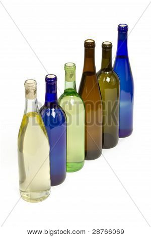 Various Bottles of Wine Isolated on a White Background