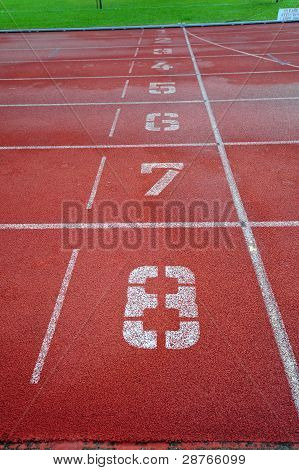 track and field and lane markings in the sport center
