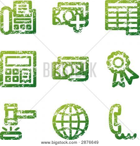 Green Grunge Finance 2 Contour Icons V2