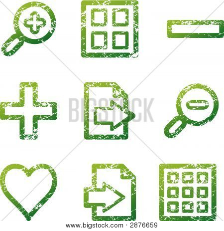 Green Grunge Image Viewer Contour Icons V2