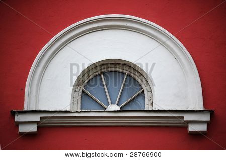 Arc Attic Vintage Window On Red Stucco Wall ;