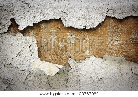 Peeled White Stucco On Cement Wall