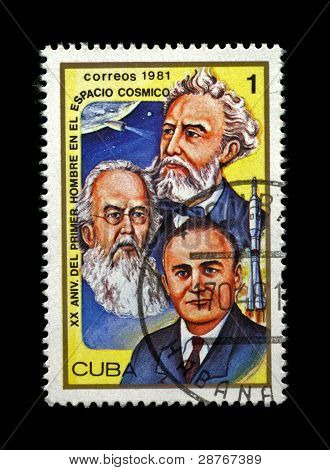 Cuba-Circa 1981.Cancelled Stamp Printed In Cuba,Shows Famous Scientist Sergey Korolyov,Tsiolkovsky