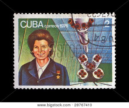 Cuba - Circa 1976: Cancelled Stamp Printed In Cuba, Shows First Russian, Soviet Astronaut Tereshkova