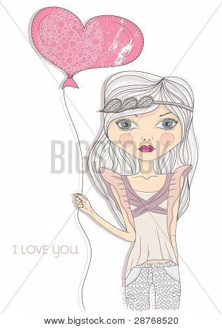 Valentine's Day Card. Fashion Girl With Heart Shape Balloon. Postcard, Greeting Card Or Invitation.