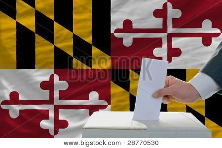 Man Voting On Elections In Front Of Flag Us State Flag Of Maryland