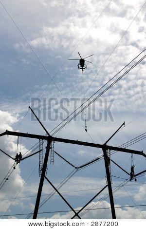 High Tension Power Workers & Helicopter: Powerworkers00008A