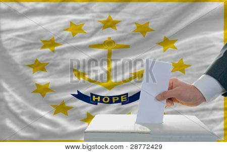 Man Voting On Elections In Front Of Flag Us State Flag Of Rhode Island