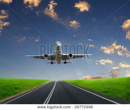Plane on blue sky background