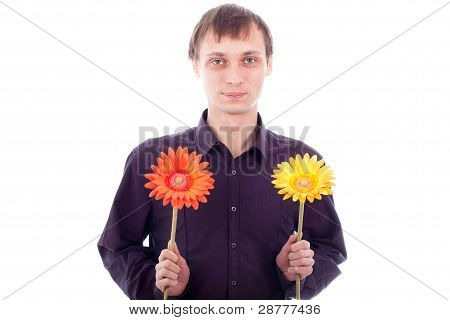 Single man with flowers