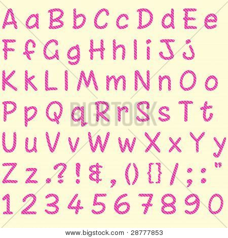 Pink Glitter Stripe Alphabet, Numbers & Symbols