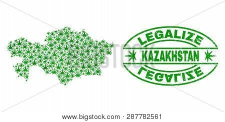 Vector Cannabis Kazakhstan Map Mosaic
