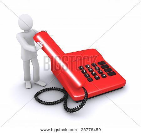 man who holds telephone handset