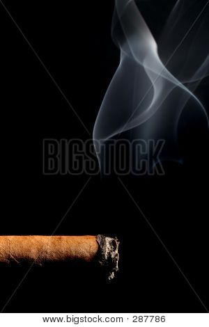 Cigar Smoking Over Black