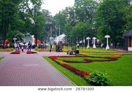 Moscow, Russia - June 11, 2010: Summer Day. Peoples In The Park Hermitage On June 11, 2010 In Moscow