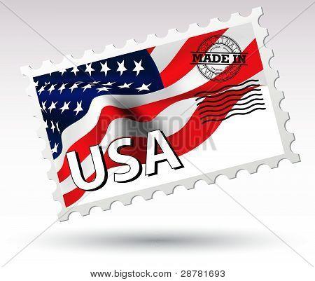 Post stamp USA flag