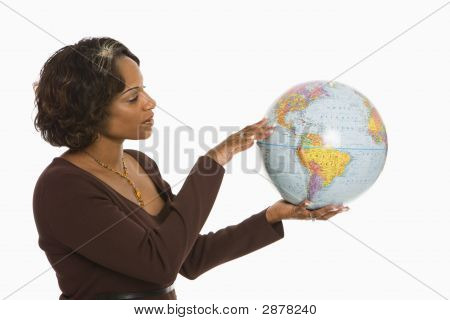 Woman Holding Earth.