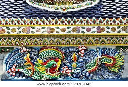 Ceramic dragon yellow green blue red mixed Color ancient Thai China