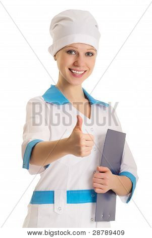 Happy Smiling Female Young Doctor With Thumb Up Gesture