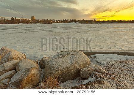Wascana Lake Freezing