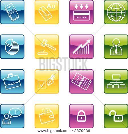 Aqua Business Icons