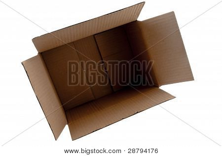 Open and empty cardboard box.