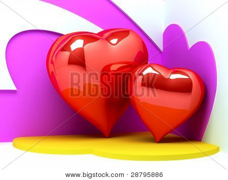 3d hearts background