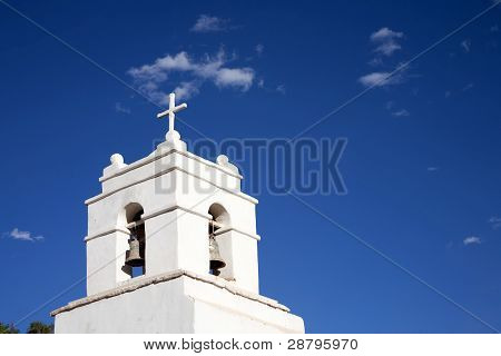 white church in desert of atacama