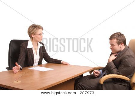 Senior Woman Junior Man Business Talk - Reprimand