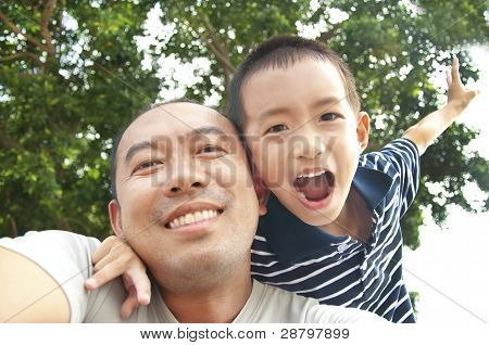 Happy father and son
