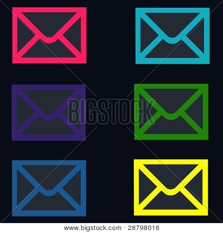 Black Colorful Email - Envelope Shapes