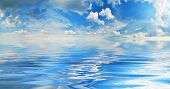 Sky And Water.panoramic Background Of Summer Sky Above Calm Water poster