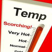 stock photo of heatwave  - Very High Scorching Temperature Shown On A Big Thermostat - JPG