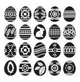 Silhouettes Of Black Easter Eggs Isolated On White Background. Holiday Easter Eggs Decorated With Fl poster