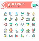 Set Of Filled Outline Multicolor Icons On Following Themes - Finance, Banking, Banking Services, Mob poster